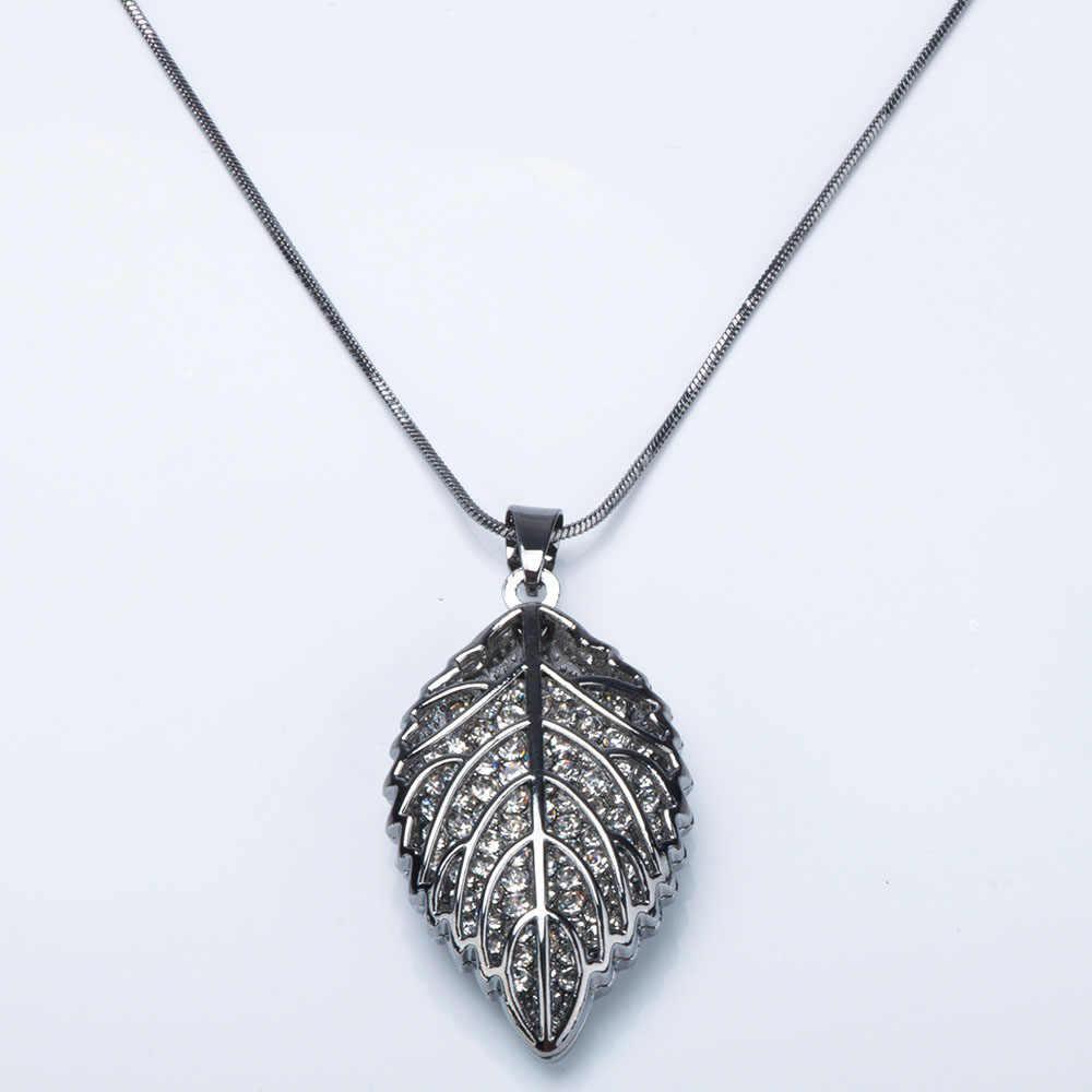 ของขวัญแฟชั่นผู้หญิงแฟชั่น Charm คริสตัล Rhinestone Leaf สร้อยคอยาวโซ่เสื้อกันหนาวผู้หญิงเครื่องประดับของขวัญ
