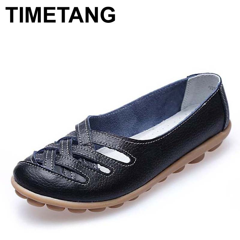 Fashion 10colors Women Genuine Leather Mother Shoes Moccasins Women's Soft Leisure Flats Female Driving Shoe Flat