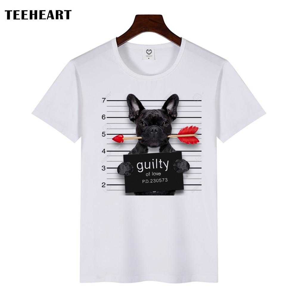 TEEHEART New 2017 Summer Fashion Picho Dog Love Arrows Design T Shirt Men's High Quality Tops Hipster Tees la533