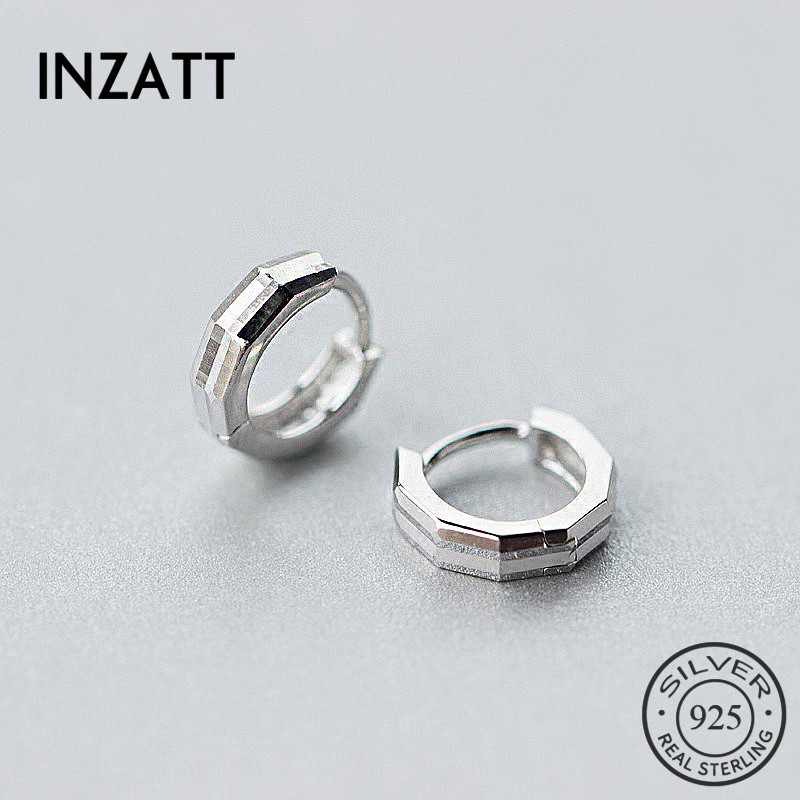 INZATT Punk Real 925 Sterling Silver Geometric Polygon Hoop Earrings For Women Birthday Party FINE Jewelry Elegant Charm Gift