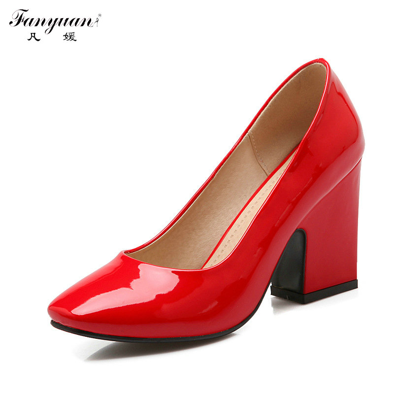 ФОТО 2017 New Spring Woman High Heels Pumps Dress Shoes Solid Patent Plus Size Square Toe Office Lady Pumps Slip-on Thick Heel Pumps