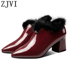 ZJVI women winter autumn patent genuine leather pumps woman 6cm square high heels pointed toe shoes ladies 2019 new black