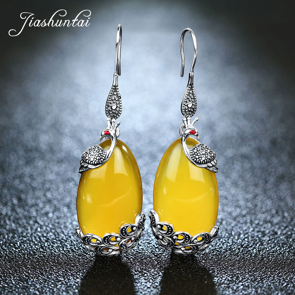 JIASHUNTAI Peacock Silver Earrings For Women Vintage Drop Earrings 925 Sterling Silver Jewelry Female Natural Yellow Stone