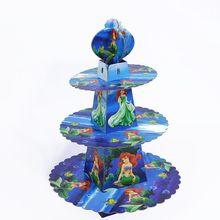 1pcs/set Cartoon Mermaid Princess Baby Shower Birthday Party Decorations Supplies Cardboard Cupcake Stand 24 Cupcakes 3 Tier