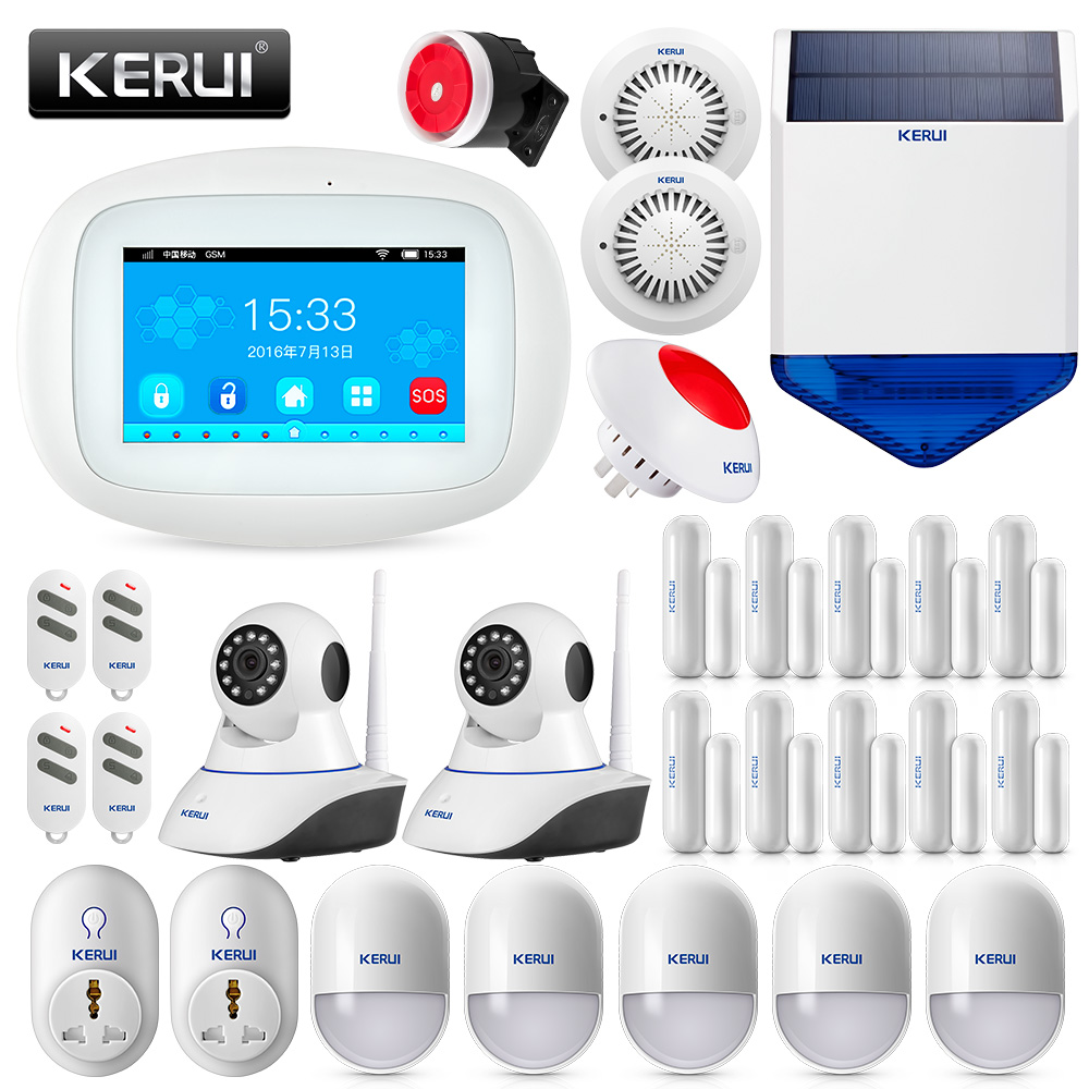 KERUI K5 4.3 Inch TFT Color Screen Home Security Smart WIFI GSM Alarm System With IP Camera And Smoke Detector Burglar Alarm