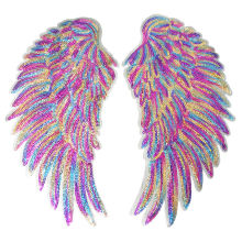 2PCS Rainbow Feather Wings Sequin Dreamy Sew Iron On Patches Embroidered Badges For Clothes DIY Appliques Craft Decoration