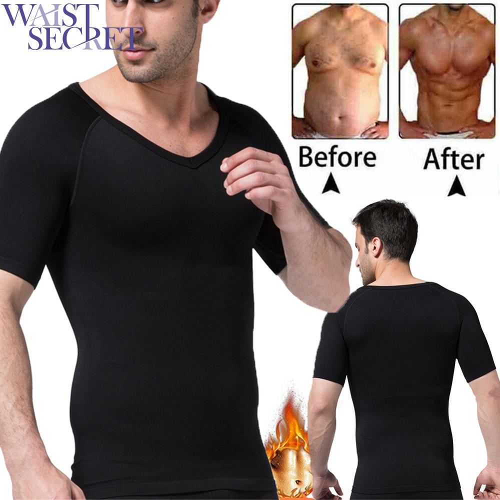 WAIST SECRET Men Slimming T-shirt Neoprene Shapers Sweat Wear Summer Suits Gym Weight Loss Shapewear Waist Training Tank Tops