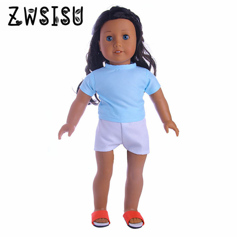 Blue T-shirt Jeans, Suitable For 18-inch American  Dolls, Suitable For 43-year-old  Dolls Give Children The Best Birthda