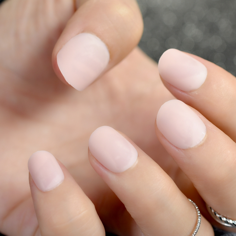 Fake Nails: Matte Short Fake Nails Light Pink Round False Nail Kids