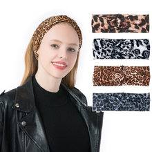 Bohemian Polyester Leopard Knot Hairband Ladies ethnic Geometric Pattern Knotted customized Hair Accessories