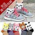 Princesa lolita doce meias Outono e inverno meias femininas meias urso dos desenhos animados 3D bonito animal da família de algodão soks amo suave