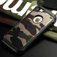 Case For IPhone 4s Army Camo Camouflage Pattern Back Cover Hard Plastic And Soft TPU Armor