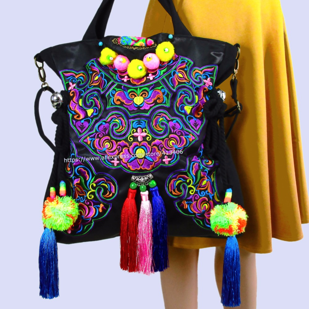 2-usage Vintage Hmong Tribal Ethnic Thai Indian Boho shoulder bag messenger purse hobo tote bag for women embroidery , SYS-388B vintage chinese hmong tribal ethnic thailand indian boho handmade embroidery bell shoulder messenger tote bag sac a dos femme