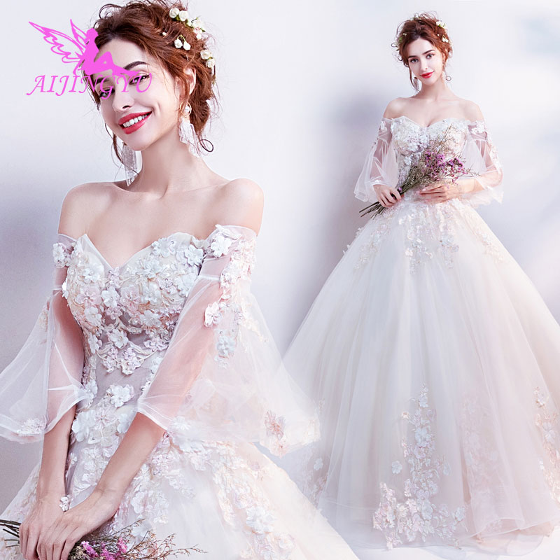 AIJINGYU 2018 Bridal Free Shipping New Hot Selling Cheap Ball Gown Lace Up Back Formal Bride Dresses Wedding Dress TJ177