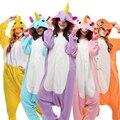 2017 Unicornio Stitch Jirafa Unisex Franela Pijamas Adultos Cosplay Animal de la Historieta Onesies ropa de Dormir Con Capucha Para Mujeres Hombres Niños