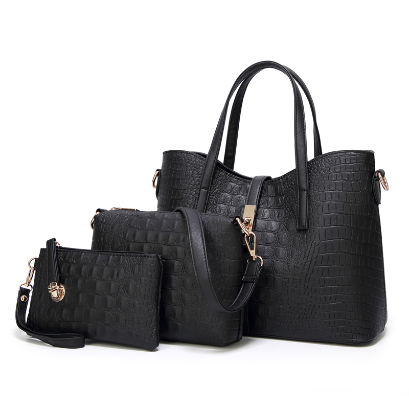 Sisjuly 3 Pcs Set Luxury Handbags Women Bags Designer Alligator Ladies Hand  Bags Large Capacity Messenger ... faeb7e9261