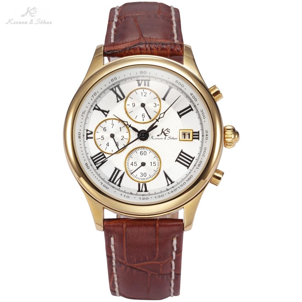 IMPERIAL KS Retro Skeleton 6 Hands Golden Case Luxury Brand Day Month Display Brown Leather Strap Men's Mechanical Watch / KS146