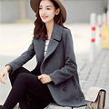 2016 Cinza Escuro Plus Size Mulheres do Revestimento do Revestimento das Mulheres Casacos de Inverno E Casacos Double Breasted Elegante Casaco de Lã Das Mulheres JN922