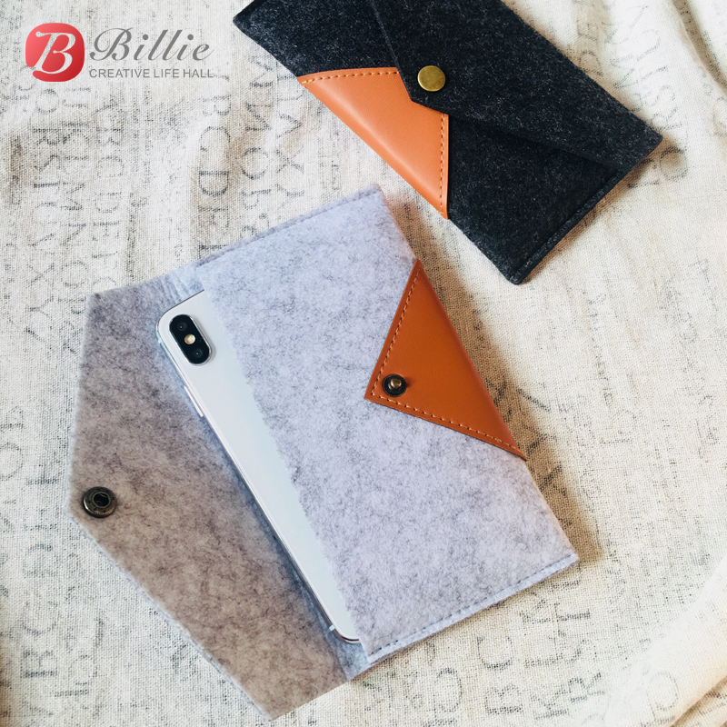 New The Bag For Apple IPhone X Cover Cases Handmade Wool Felt Pouch Protective Cover Sleeve Pocket Case For IPhone Xs XS MAX