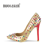 NEW ARRIVE Women Shoes Sexy Stilettos Wedding Shoes 12cm River High Heels Party Pointed Toe Women