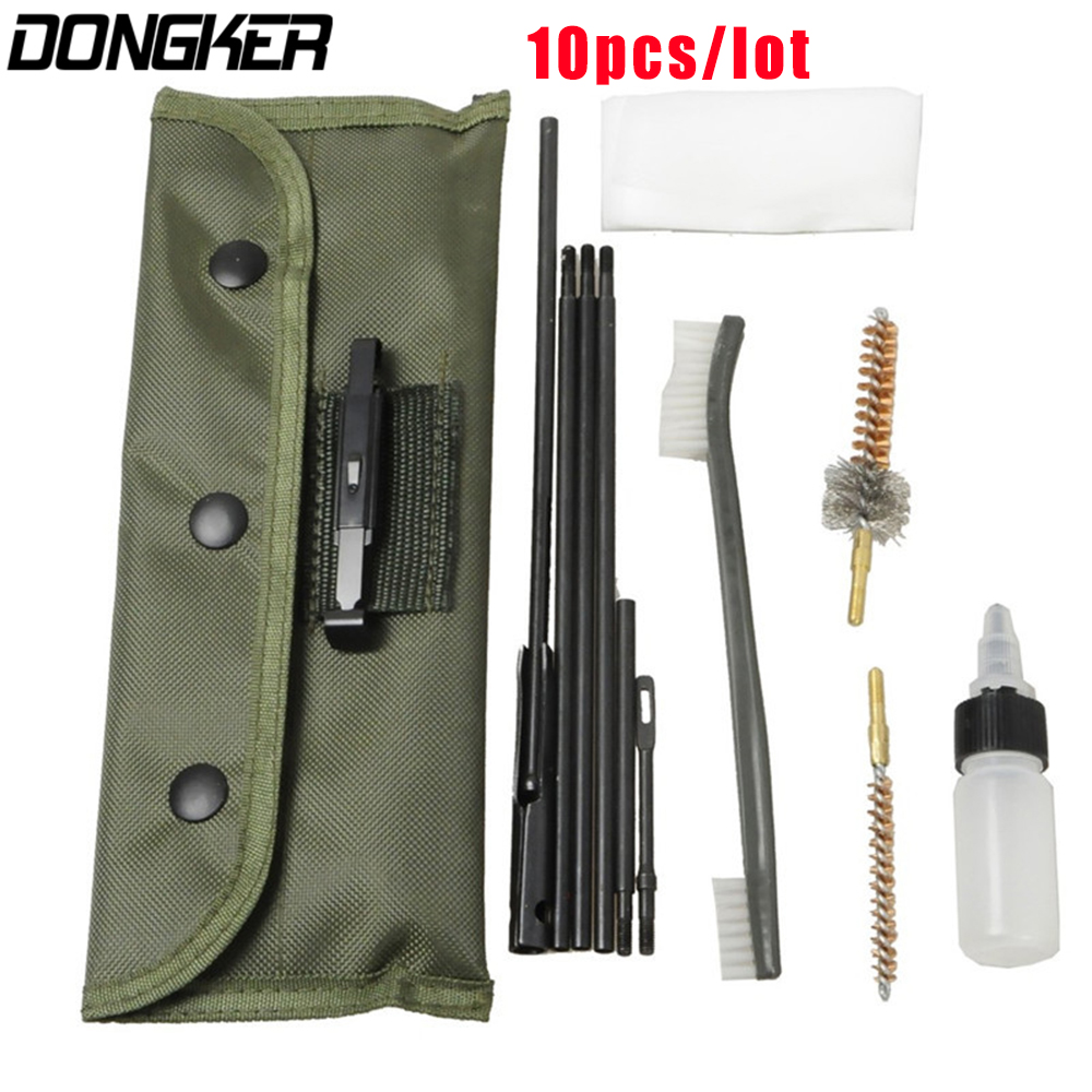 10PCS AR15 M16 M4 Gun Cleaning Kit Airsoft Shotgun Pistol Cleanner for 5.56mm .223 22LR .22 Cal Tactical Rifle Gun Brushes Set