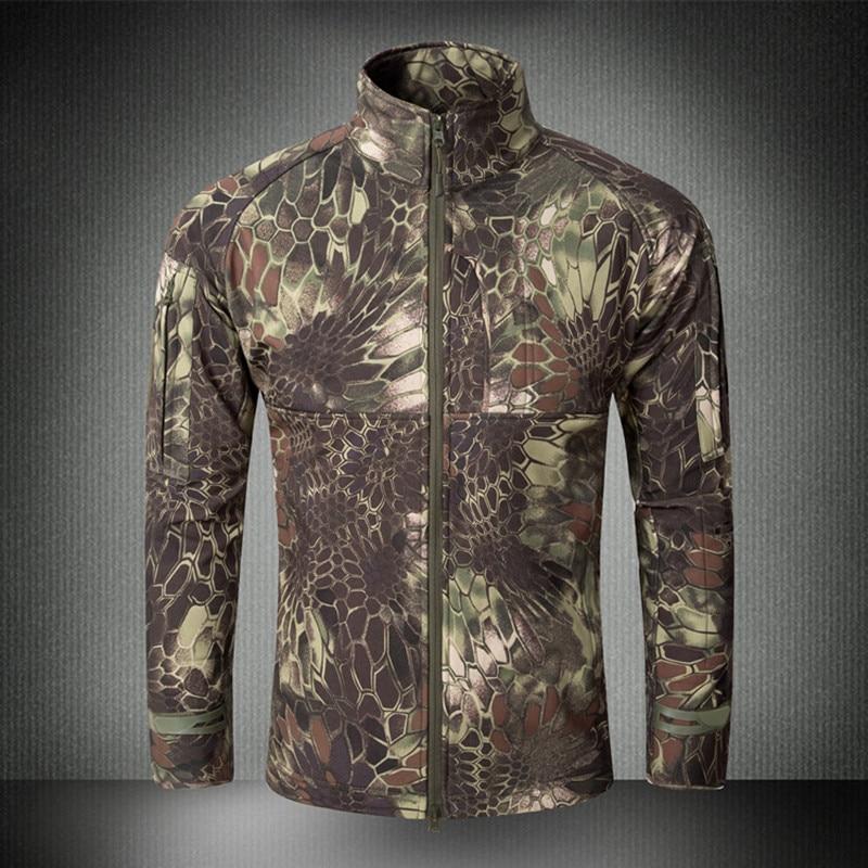 Men Outdoor Waterproof Camouflage Fleece Lining Warm Jackets Coats Hiking Climbing Hunting Tactical Softshell Tops Windbreaker