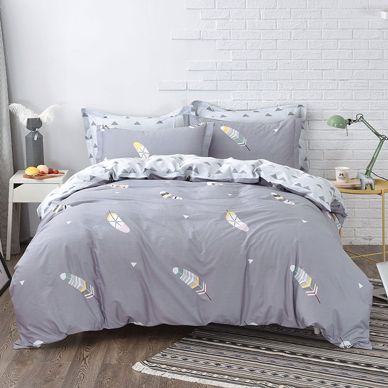 Home Textile Feather printingBed Linens 4pcs Bedding Sets Bed Set Duvet Cover Bed Sheet Queen king size Cover SetHome Textile Feather printingBed Linens 4pcs Bedding Sets Bed Set Duvet Cover Bed Sheet Queen king size Cover Set