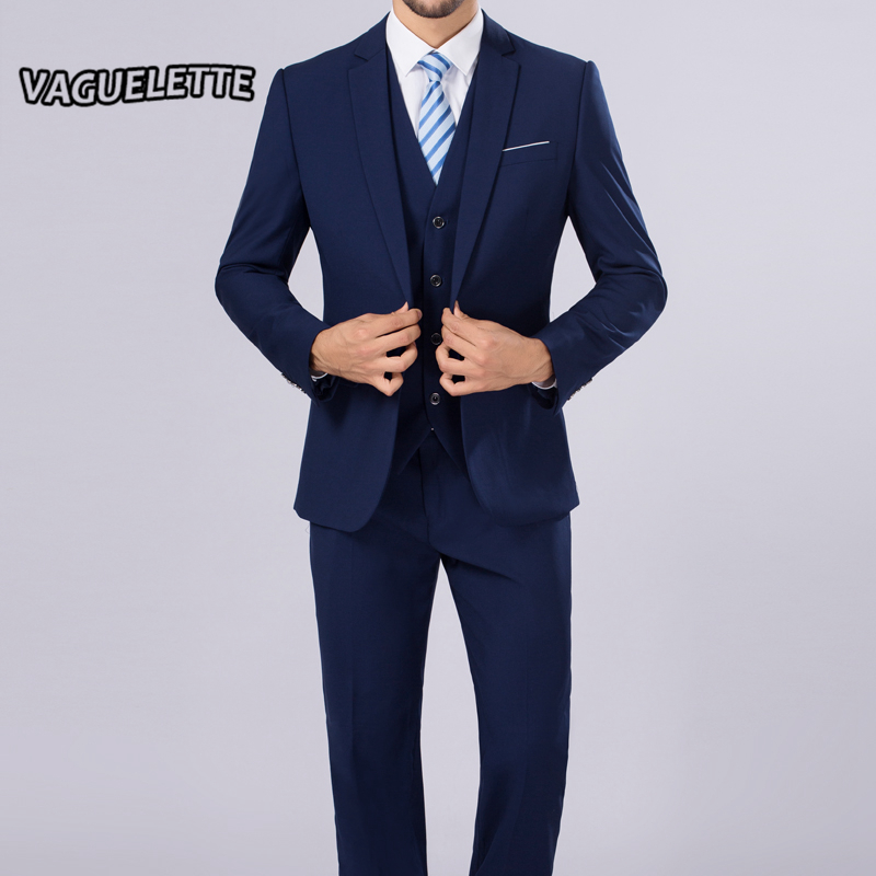 Blazer Pants Vest Classic Men Suit Slim Royal Blue Wedding Groom Wear Men Suit Black
