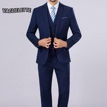 (Пиджак + Брюки + жилет) Классический мужской костюм тонкий королевский синий Свадебные Костюмы для жениха мужской костюм черный господа Костюм Mariage Homme M-4XL