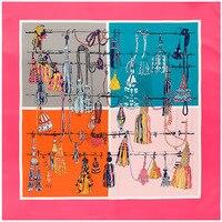Fashion Scarf Women Big Square Headscarf Color Patchwork Print Euro Brand Style Twill Silk Shawl Female