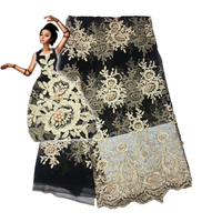 PROMOTION!2017 High quality nigerian french lace african lace fabric with stone & bead for party dress ,Africa lace fabric