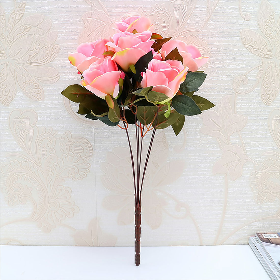 Artificial silk 7 heads french rose floral bouquet fake flower note different size for manual measuring for measuring way there will be a little error about 1 3cm the color may be a little different because of izmirmasajfo