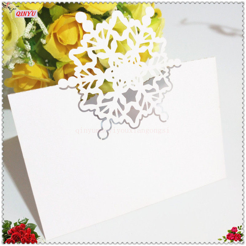 snow flake party seat table 100 pcs place cards name card decoration laser cut guest card