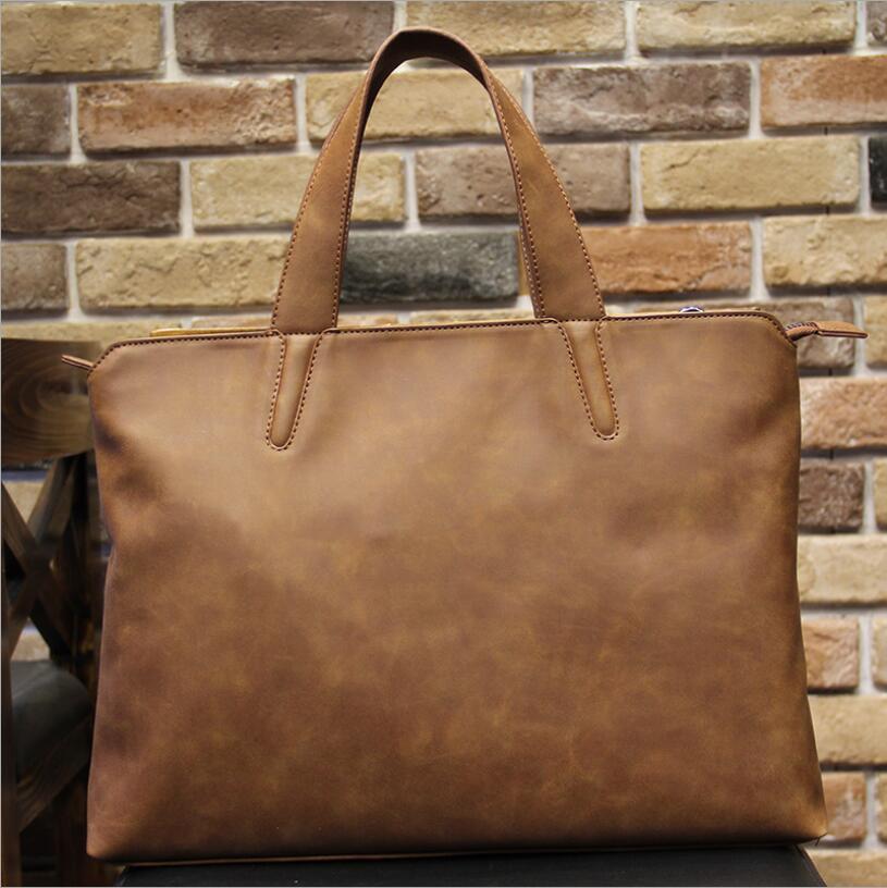 Handbag Briefcase Crazy-Horse Korean Laptop-Bag Messenger-Bag Computer Shoulder Men's