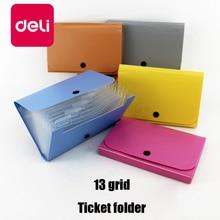 цена на Deli 5 Pack 13 Grid Expanding File Folder Pockets A6 Ticket Button Organ Multi-layer Document Data Storage Bag Receipt folder
