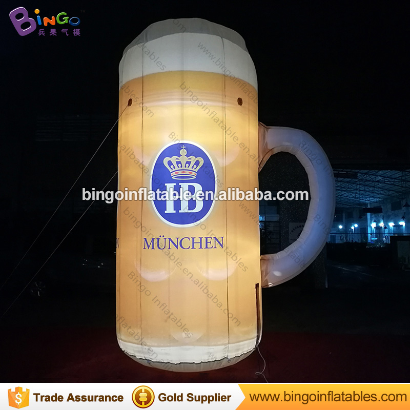 Free shipping LED lighting 4m inflatable beer cup model with digital printing for advertising beer cup balloon for party propFree shipping LED lighting 4m inflatable beer cup model with digital printing for advertising beer cup balloon for party prop