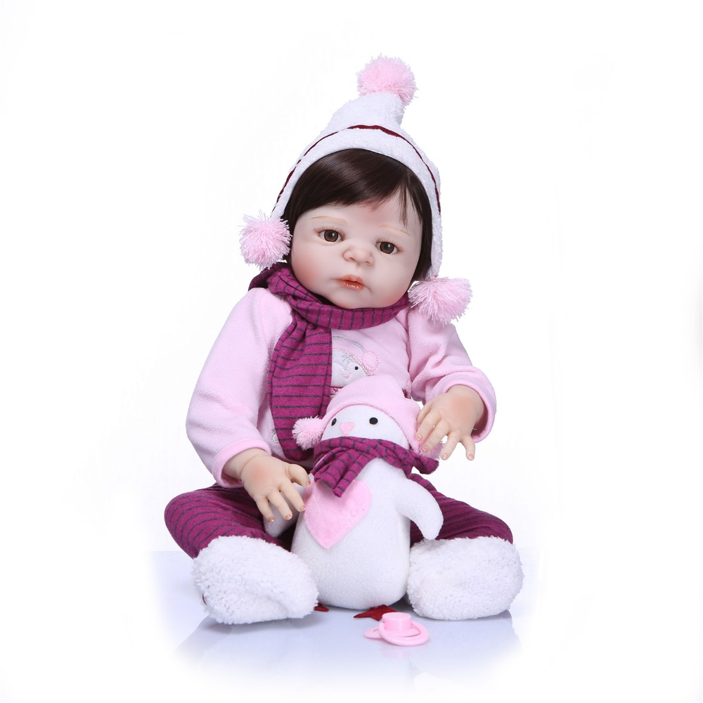 55CM Full Silicone Reborn Baby Dolls Soft Vinyl Baby Realistic Doll Children Birthday Gift Toys For Girls Bebe Bonecas Bathe Toy junior republic junior republic рубашка в мелкую полоску белая