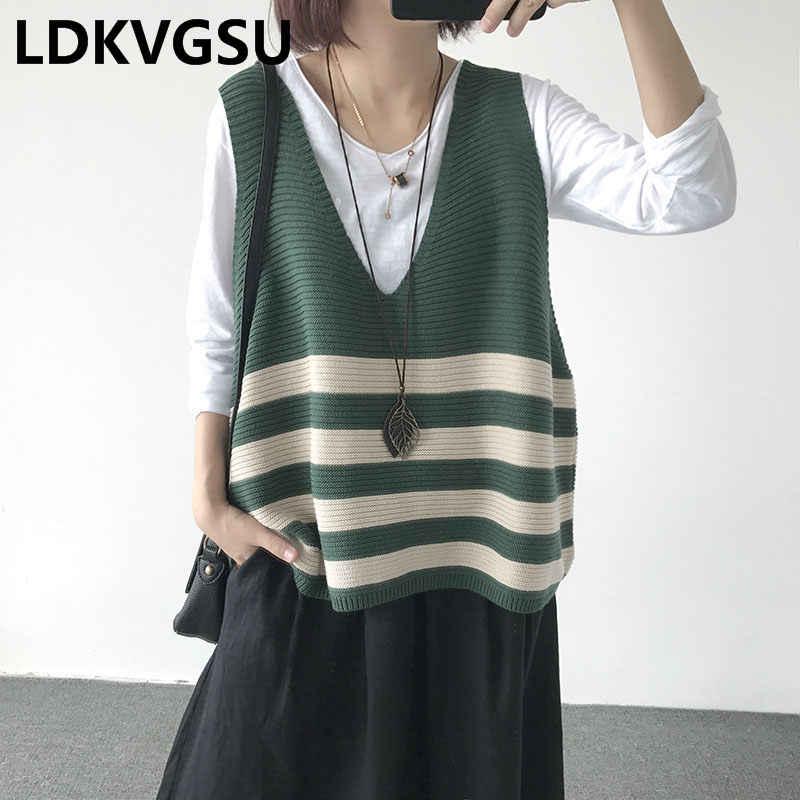 2019 봄 가을 새로운 느슨한 대형 니트 조끼 v-목 스트 라이프 여성 짧은 민소매 스웨터 조끼 여성 탑스 is1620