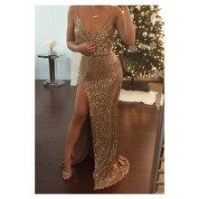 Heißer Verkauf Gold Und Sparkly prom Kleid Sexy Split Side mit pailletten Kleid Langes Abendkleid Sleeveless Vestidos De Noche