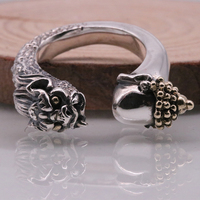 SOQMO Men's Ring Buddha Defeated The Devil 100% Real 925 Sterling Silver Jewelry Punk Opening Couple Ring SQM066