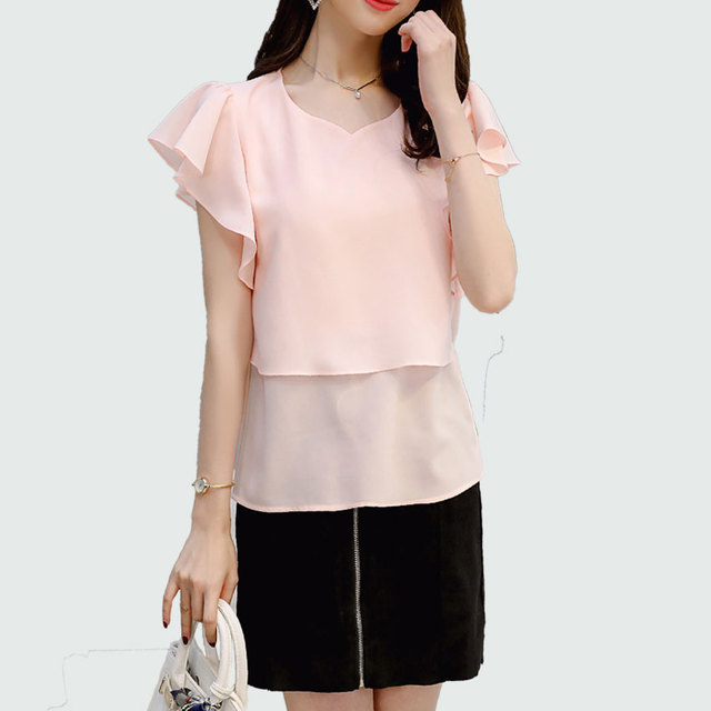 10788a4cc4facc Summer Chiffon Blouse Butterfly Sleeve 2018 New Red   Pink Korean Sexy  V-neck Women Shirts Ladies Office Tops Female Clothing