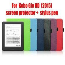 Kobo Glo HD funda protectora de cuero caso de la cubierta funda para Kobo Glo HD ( 2015 ) con Auto estela del sueño + screen protector + stylus pen