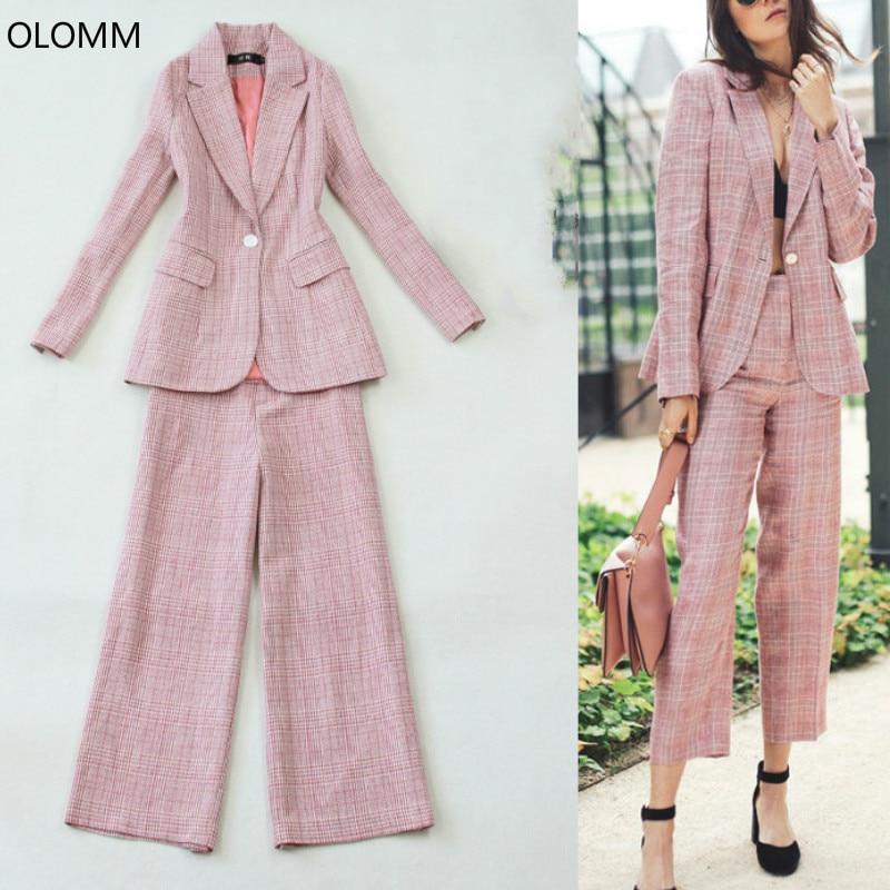 Set female 2019 new women's pants suit large size pink lattice slim long suit jacket fashion nine points wide leg pants two sets
