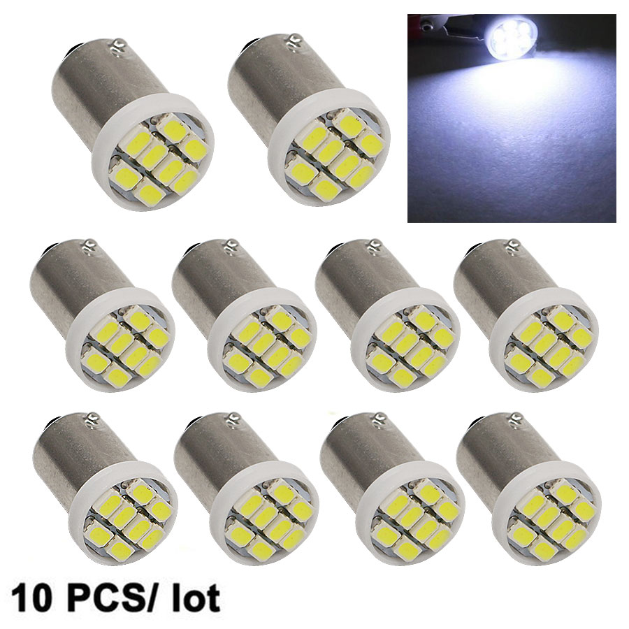 10X High Quality T4W BA9S Projector 1206 LED Interior Light 3020 8SMD Wedge Auto Car Reading Dome Lamps Car Marker Light DC 12V