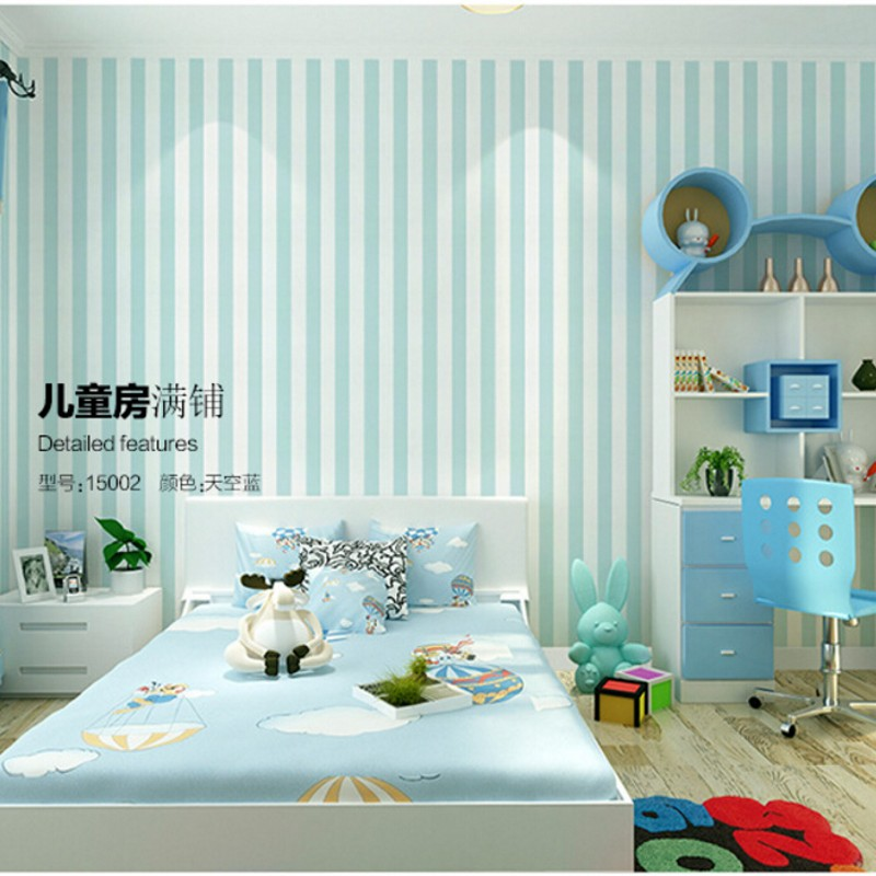 Beibehang 3D wallpaper blue and white stripe, Mediterranean style sitting room the bedroom of children room 3d wallpaper custom baby wallpaper snow white and the seven dwarfs bedroom for the children s room mural backdrop stereoscopic 3d