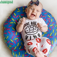 2017 Cute White Newborn Baby Girl Boy Short Sleeve O Neck Print Mouth Top Pants Outfits