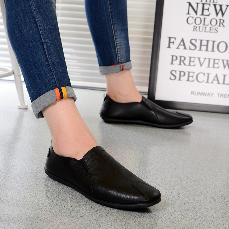 New Autumn Men  Leather Casual Shoes Slip-On Fashion Soft Loafers Shoes Men Driving Breathable Male Shoes zapatos 39-44 MF375 handmade summer men shoes fashion breathable casual driving men s shoes leather low slip on loafers soft flats zapatos hombres