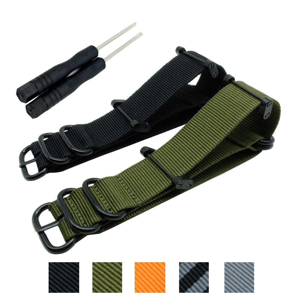 Venda quente moda otan longo suunto núcleo cinta de náilon banda kit w talões adaptadores 24mm zulu pulseiras de relógio de náilon pulseira inteligente para homem