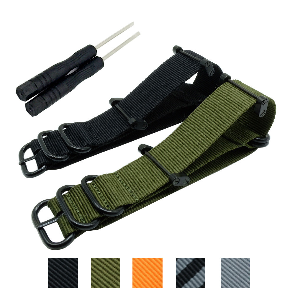 Hot Sale Fashion Nato Long Suunto Core Nylon Strap Band Kit W Lugs Adapters 24mm Zulu Watchbands Nylon Smart Bracelet For Men