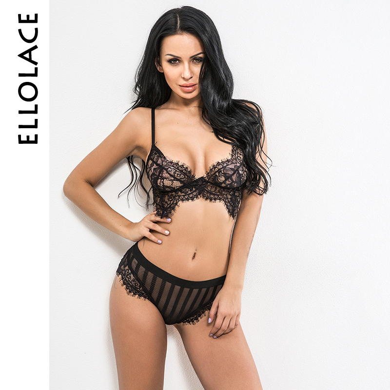 Ellolace Hot Sexy Lingerie Set Eyelash Lace Bralette Brasserie Women Bra Set Tops Bra Brief Sets Striped Transparent Underwear